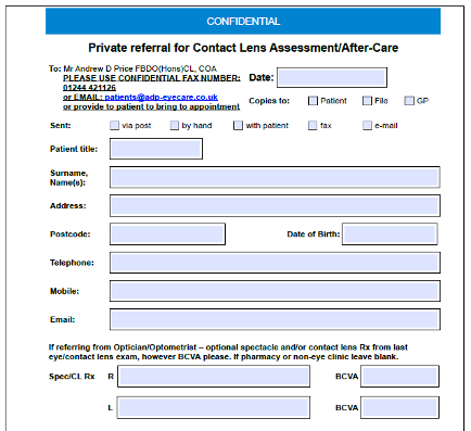 Private referral for Contact Lens Assessment/After-Care